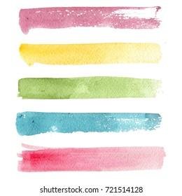 Brush strokes. Watercolor strokes. Strokes set.