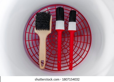 Brush for washing and detailing car isolated over white background