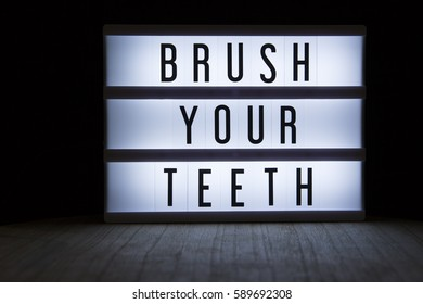 'Brush your teeth' text in lightbox