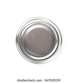 Brushed aluminium jar's cap isolated over the white background