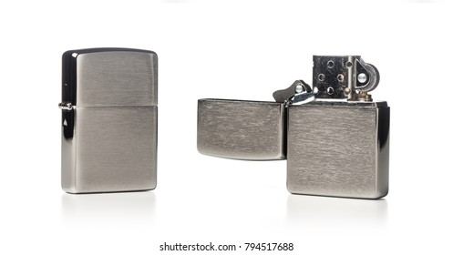 brushed chrome lighter with windproof isolated over white background