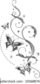 Brushed Design. Butterflies with stars. Summer Holiday.