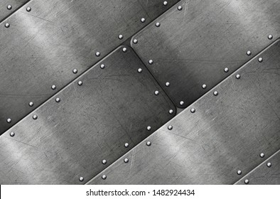 Brushed metal plate with rivets, polished steel texture