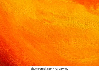 Brushed Painted Background, Abstract Orange Oil Color