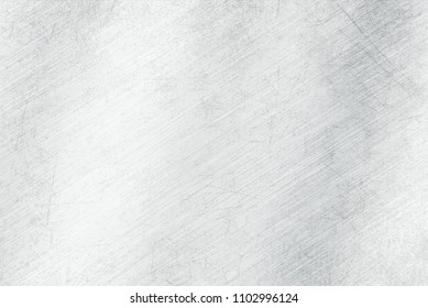Brushed scratched light  metal texture. Polished metal texture background with light reflection.