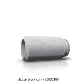 Brushed steel drink can on white background