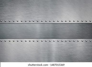 Brushed steel plate, riveted metal background
