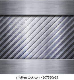 Brushed striped metal aluminum connected with steel background or texture