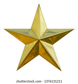 Brushed yellow metal Gold Star glossy single symbol ratting isolated on white background. This has clipping path.