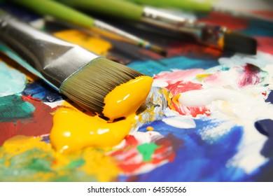 brushes and acrylic paint