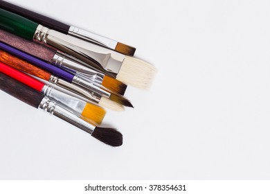 Brushes of the artist on a white background