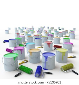 brushes and buckets of paint on a white background