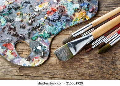 Brushes and colorful almost abstract pallet