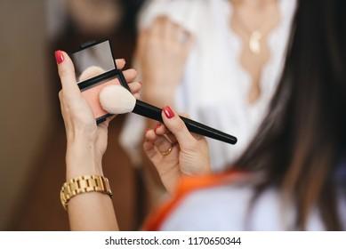 Brushes makeup artist. Workplace makeup artist.  Wedding preparations. Morning of the bride. Wedding make-up.