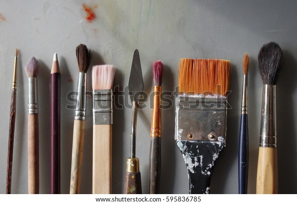 Brushes On Artists Table Different Types Stock Photo Edit