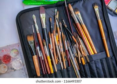brushes for paint. Brushes for makeup. tassel