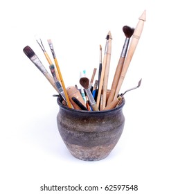 brushes in pot and accessory