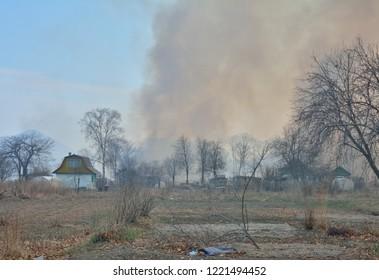 A brushfire behind summerhouses.