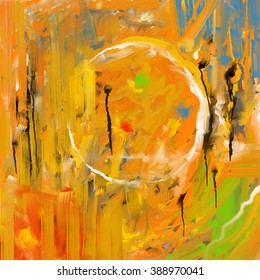 Brushstrokes abstraction. Abstract painting, color lines and shapes, square composition.