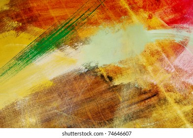 brushstrokes of different colors on a canvas