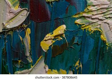 brushstrokes of oil paint on the palette