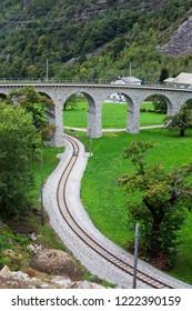 Brusio viaduct on Bernina railway, Switzerland.