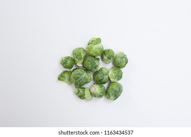 brussel sprouts   on a white background.