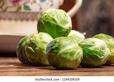 Brussel sprouts on a wooden table