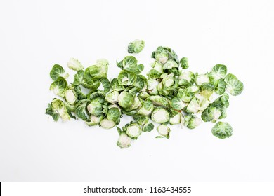 brussel sprouts peals on a white background.