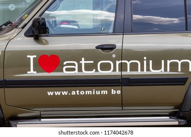BRUSSELES, BELGIUM- 15 June 2018 - A car wit the words I love Atomium on it in front of the Atomium, Brusseles