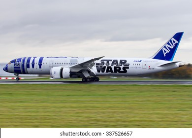BRUSSELS AIRPORT (BELGIUM) - NOVEMBER 4, 2015: First time in Europe for ANA special jet â??R2-D2â?�, painted for the launch of the new movie â??Star Wars: The Force Awakensâ?�