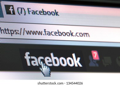 BRUSSELS- APRIL 8: Facebook is trialling a pay-to-message feature that allows users to contact people they are not connected with for a fee. on  April 08, 2013 in Brussels, Belgium