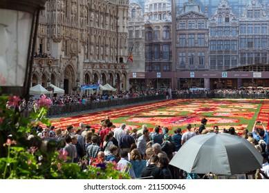 BRUSSELS - AUGUST 15: Flower carpet - 2014 in Brussels Grand-Place, Belgium.