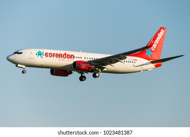 BRUSSELS - AUGUST 16: A Corendon Airlines Boeing 737-8Q8 (TC-TJM) is ready to land at Brussels Airport in Brussels, BELGIUM on August 16, 2016. Corendon Airlines is a Turkish leisure airline.