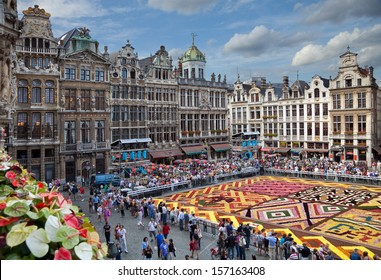 BRUSSELS - AUGUST 16: Flower Carpet Festival on August 16, 2012 in Brussels, Belgium. This biannual event takes place at the Grand Place; This year design of the carpet was in honor of Africa.