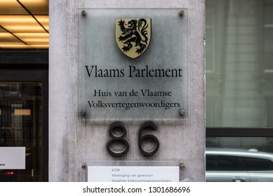 Brussels, Belgium - 02 01 2019: Sign of the Flemish Parliament at the entrance