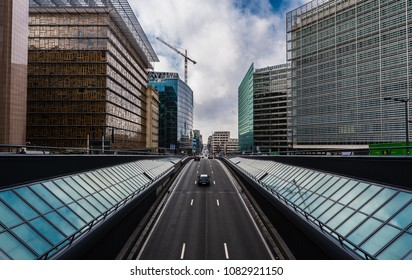 Brussels, Belgium - 02 15 2018: European headquarters and traffic tunel in Brussels downtown