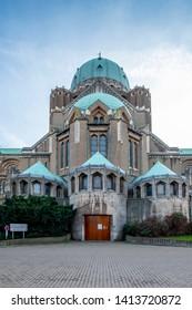 Brussels / Belgium - 02 15 2019: Koekelberg, the Basilica of the Sacred Heart of Brussels.