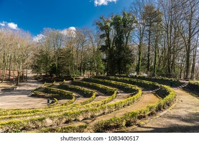 Brussels, Belgium - 03 20 2018 The  green theater in the Brussels Osseghempark during spring