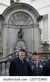 Brussels, Belgium - 03/06/2019 : Manneken-Pis and the 19th Battalion of Foot Hunters (France)