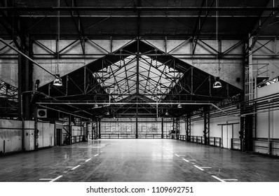 Brussels, Belgium - 05 23 2018: Visitors view in the old Citroen garage shortly after the opening of Kanal Centre Pompidou
