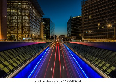 Brussels, Belgium -  06 26 2018: European headquarters and traffic tunel in Brussels downtown at dusk