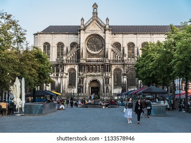 Brussels, Belgium - 07 11 2018: People walking at the Saint Catherine Square on a late summer