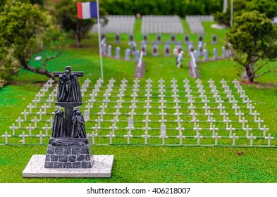 BRUSSELS, BELGIUM - 07 MAY 2015: Miniatures at the park Mini-Europe - reproductions of monuments in the European Union. French military cemetery. Front monument in focus.