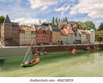 BRUSSELS, BELGIUM - 07 MAY 2015: Miniatures at the park Mini-Europe - reproductions of monuments in the European Union. New harbour with fishing boats and houses, Denmark