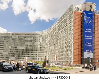 BRUSSELS, BELGIUM - 07 MAY 2015: Front view to the European Commission Headquarters building (Berlaymont building)