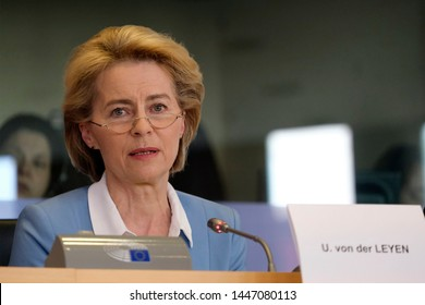 Brussels, Belgium. 10th July 2019. Candidate for President of the European Commission Ursula von der LEYEN talks to members of S&D group in European Parliament.