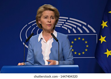 Brussels, Belgium. 10th July 2019. Ursula von der Leyen the nominated President of the EU Commission and President of the EU Parliament David-Maria Sassoli give a press briefing.