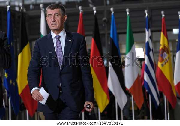 Brussels, Belgium. 10th Oct. 2019. Prime Minister of Czech, Andrej Babis  arrives to attend in  EU leaders summit.