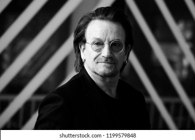 Brussels, Belgium. 10th October, 2018. Donald Tusk, the President of the European Council welcomes Bono, U2 singer and co-founder of the One campaign at European Council headquarters